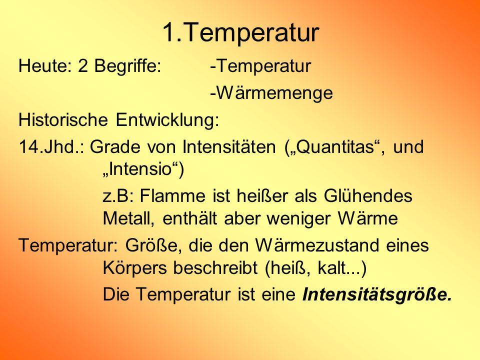 Heute: 2 Begriffe: -Temperatur -Wärmemenge Historische Entwicklung: 14.Jhd.: Grade von Intensitäten (Quantitas, und Intensio) z.B: Flamme ist heißer a