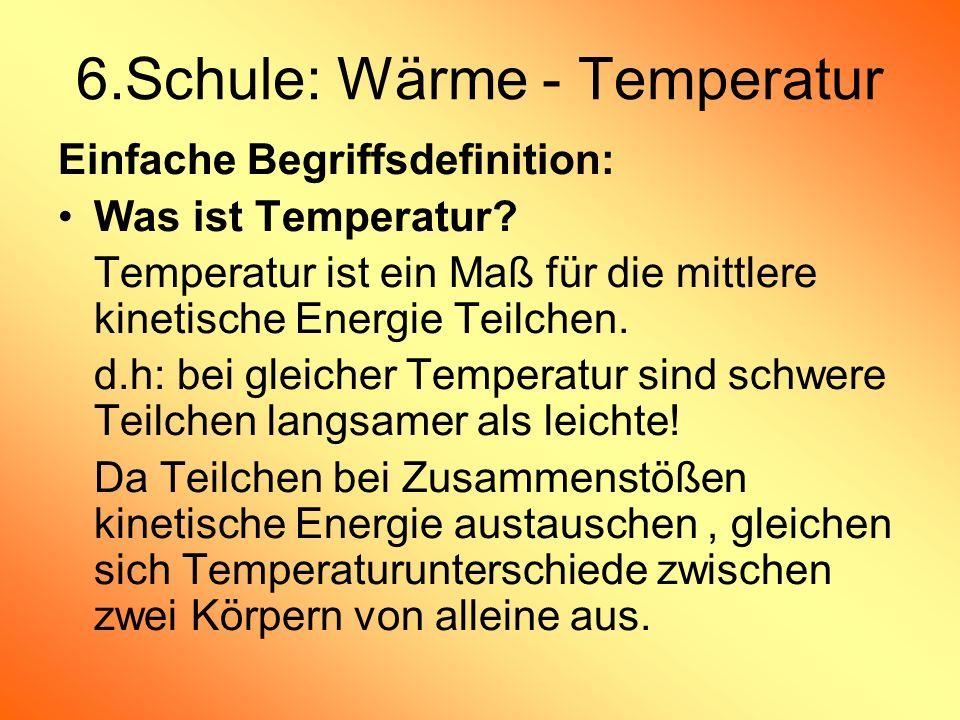 6.Schule: Wärme - Temperatur Einfache Begriffsdefinition: Was ist Temperatur? Temperatur ist ein Maß für die mittlere kinetische Energie Teilchen. d.h