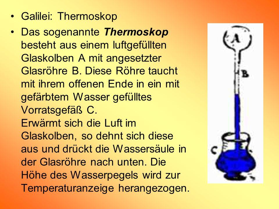 Galilei: Thermoskop Das sogenannte Thermoskop besteht aus einem luftgefüllten Glaskolben A mit angesetzter Glasröhre B. Diese Röhre taucht mit ihrem o