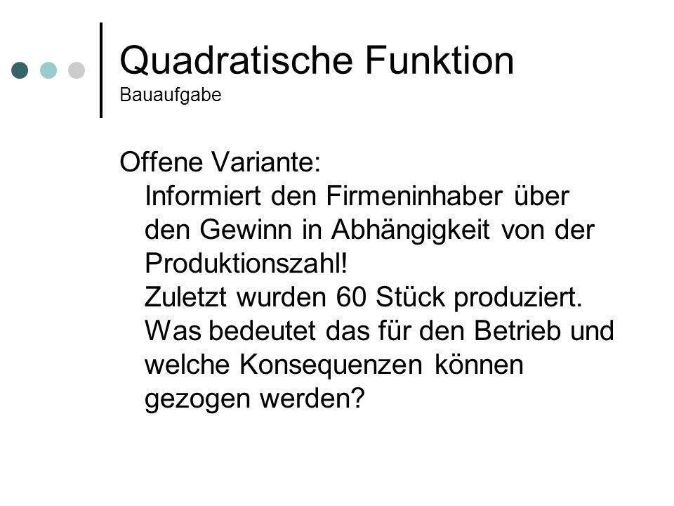 Quadratische Funktion Bauaufgabe Engere Variante: Stelle eine Gewinnfunktion auf.
