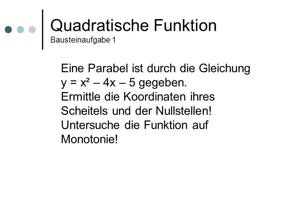 Quadratische Funktion weitere Bausteinaufgaben Erlös-, Kosten- und Gewinnfunktion Gewinn = Erlös – Kosten Lösen quadratischer Gleichungen