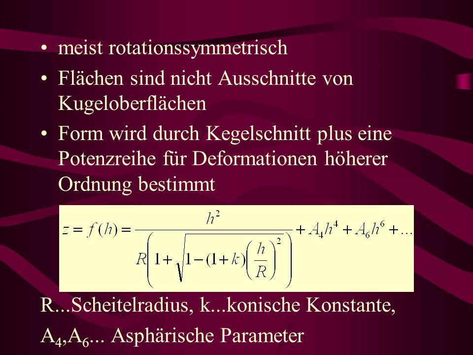 meist rotationssymmetrisch Flächen sind nicht Ausschnitte von Kugeloberflächen Form wird durch Kegelschnitt plus eine Potenzreihe für Deformationen höherer Ordnung bestimmt R...Scheitelradius, k...konische Konstante, A 4,A 6...