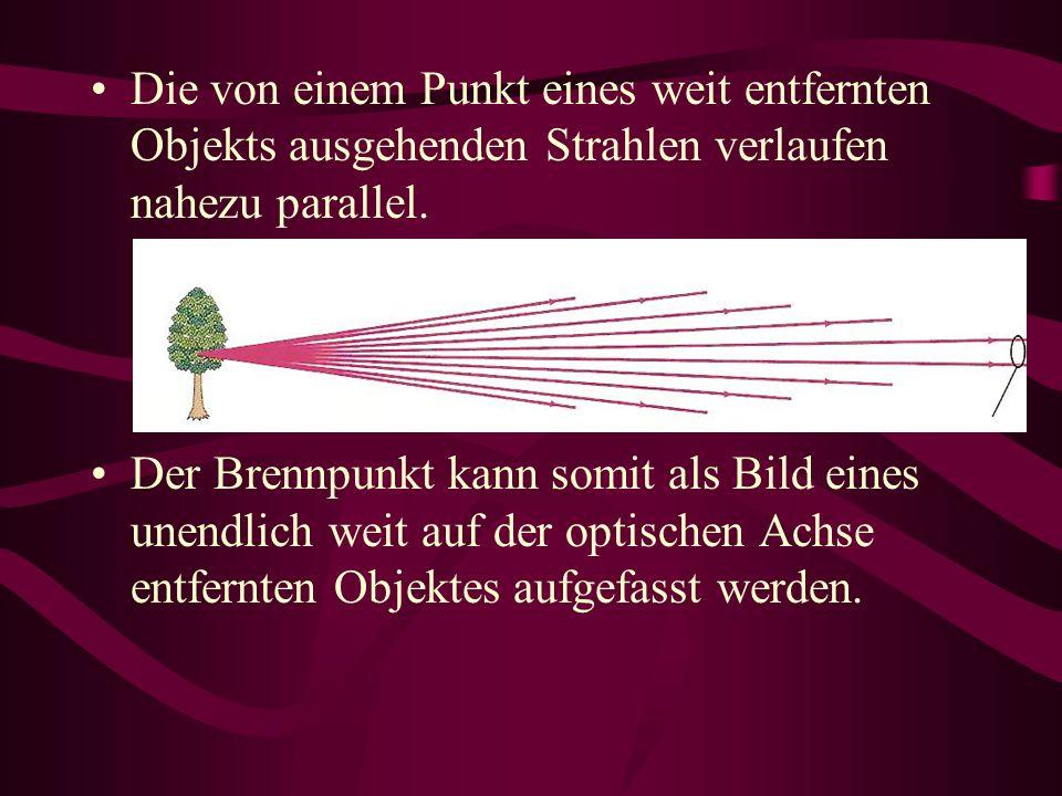 Die von einem Punkt eines weit entfernten Objekts ausgehenden Strahlen verlaufen nahezu parallel. Der Brennpunkt kann somit als Bild eines unendlich w