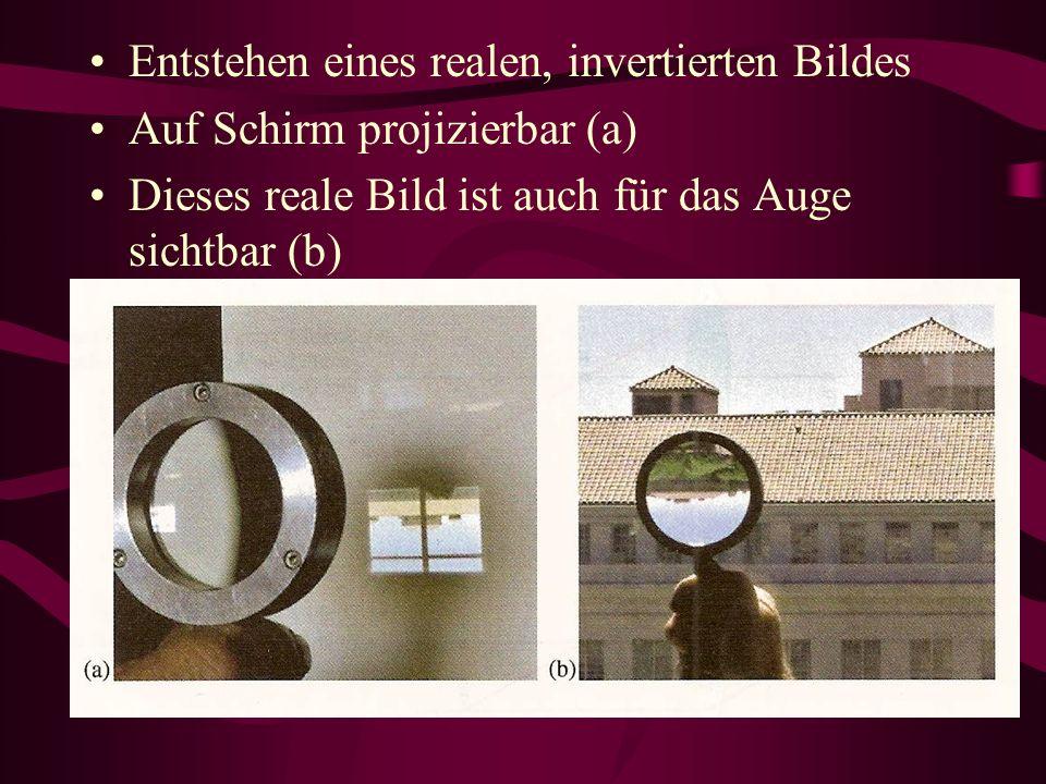 Entstehen eines realen, invertierten Bildes Auf Schirm projizierbar (a) Dieses reale Bild ist auch für das Auge sichtbar (b)