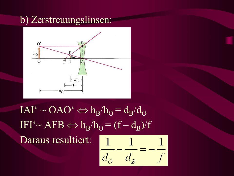 b) Zerstreuungslinsen: IAI ~ OAO h B /h O = d B /d O IFI~ AFB h B /h O = (f – d B )/f Daraus resultiert: