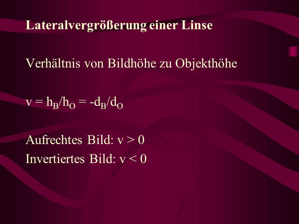 Lateralvergrößerung einer Linse Verhältnis von Bildhöhe zu Objekthöhe v = h B /h O = -d B /d O Aufrechtes Bild: v > 0 Invertiertes Bild: v < 0