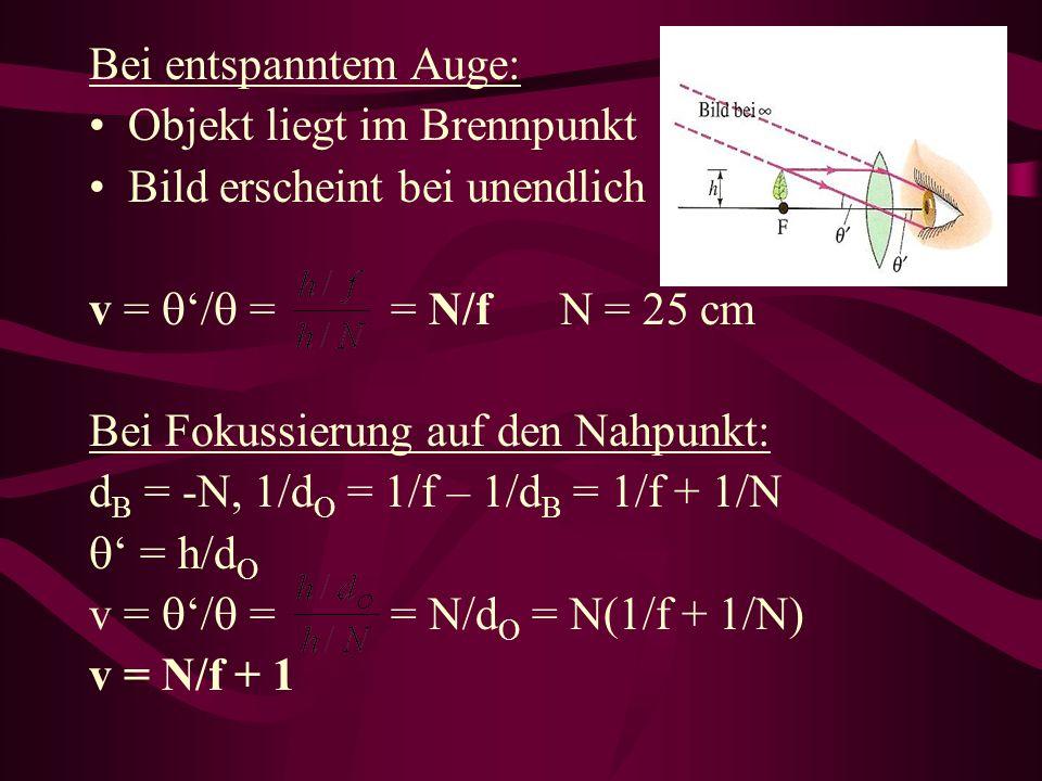 Bei entspanntem Auge: Objekt liegt im Brennpunkt Bild erscheint bei unendlich v = / = = N/f N = 25 cm Bei Fokussierung auf den Nahpunkt: d B = -N, 1/d O = 1/f – 1/d B = 1/f + 1/N = h/d O v = / = = N/d O = N(1/f + 1/N) v = N/f + 1