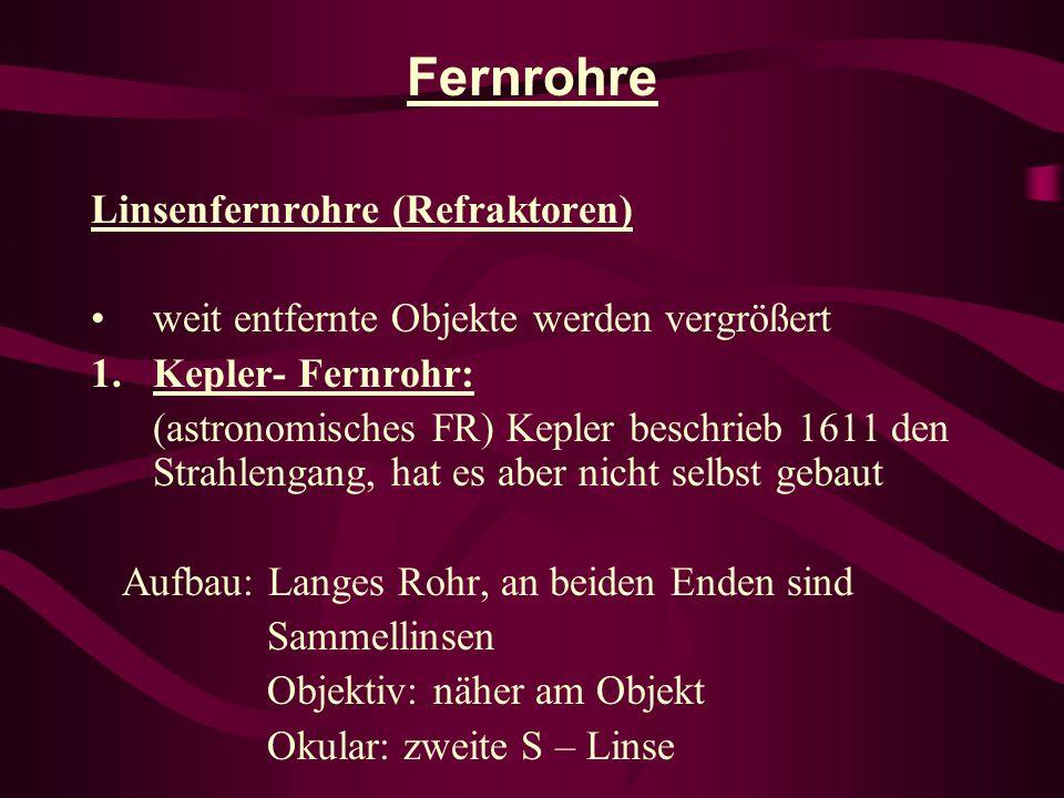 Fernrohre Linsenfernrohre (Refraktoren) weit entfernte Objekte werden vergrößert 1.Kepler- Fernrohr: (astronomisches FR) Kepler beschrieb 1611 den Str