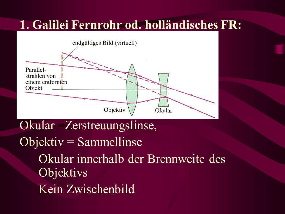 1. Galilei Fernrohr od. holländisches FR: Okular =Zerstreuungslinse, Objektiv = Sammellinse Okular innerhalb der Brennweite des Objektivs Kein Zwische
