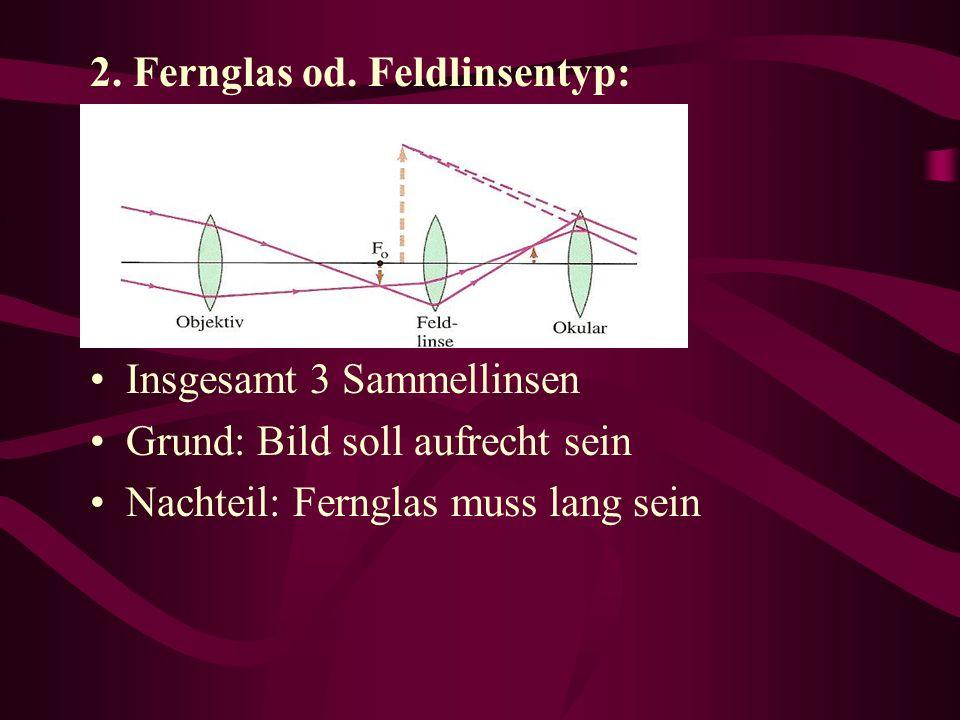2. Fernglas od. Feldlinsentyp: Insgesamt 3 Sammellinsen Grund: Bild soll aufrecht sein Nachteil: Fernglas muss lang sein