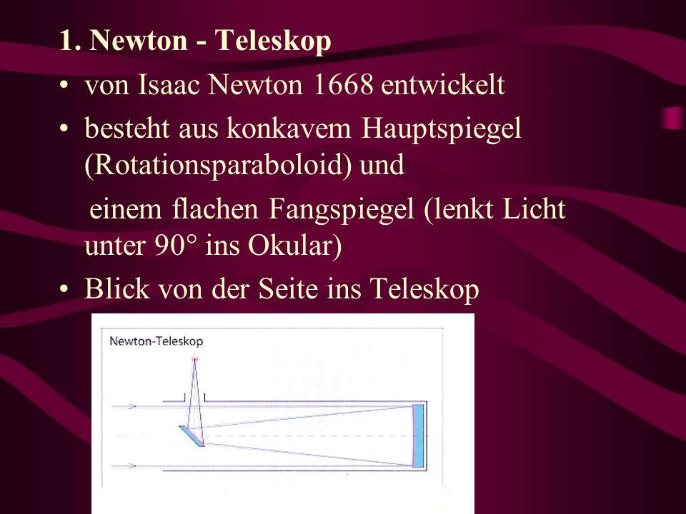 1. Newton - Teleskop von Isaac Newton 1668 entwickelt besteht aus konkavem Hauptspiegel (Rotationsparaboloid) und einem flachen Fangspiegel (lenkt Lic