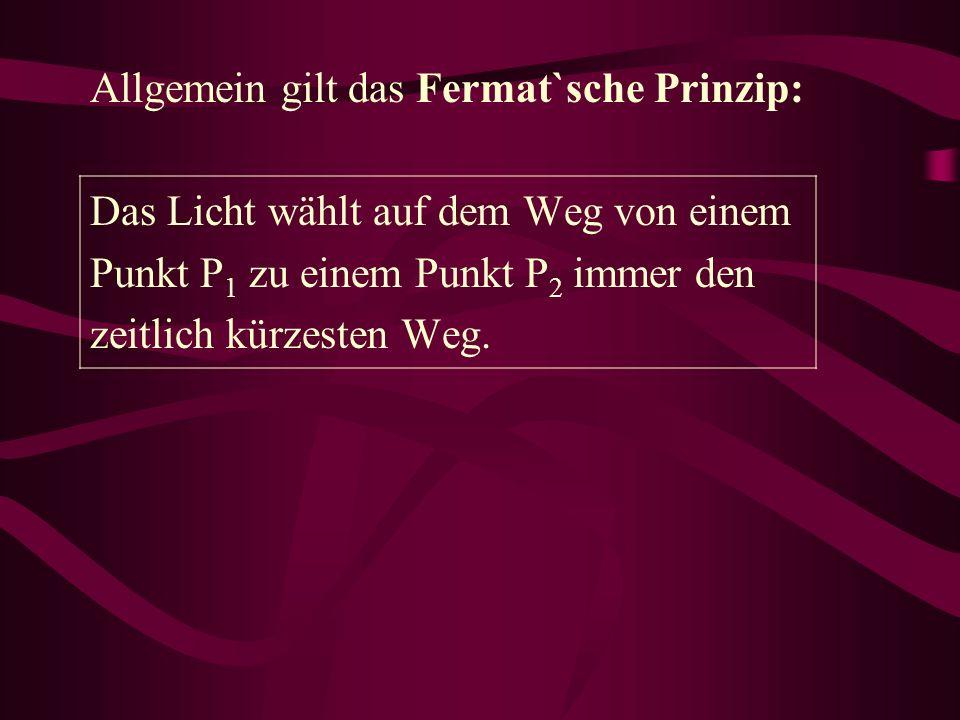 Allgemein gilt das Fermat`sche Prinzip: Das Licht wählt auf dem Weg von einem Punkt P 1 zu einem Punkt P 2 immer den zeitlich kürzesten Weg.