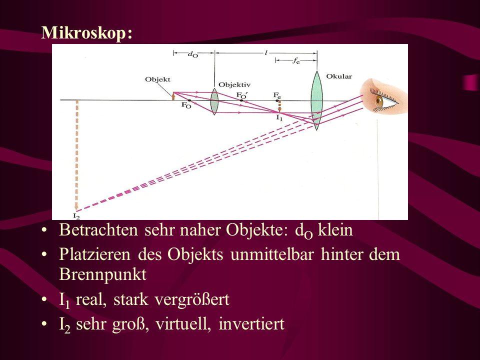 Mikroskop: Betrachten sehr naher Objekte: d O klein Platzieren des Objekts unmittelbar hinter dem Brennpunkt I 1 real, stark vergrößert I 2 sehr groß, virtuell, invertiert