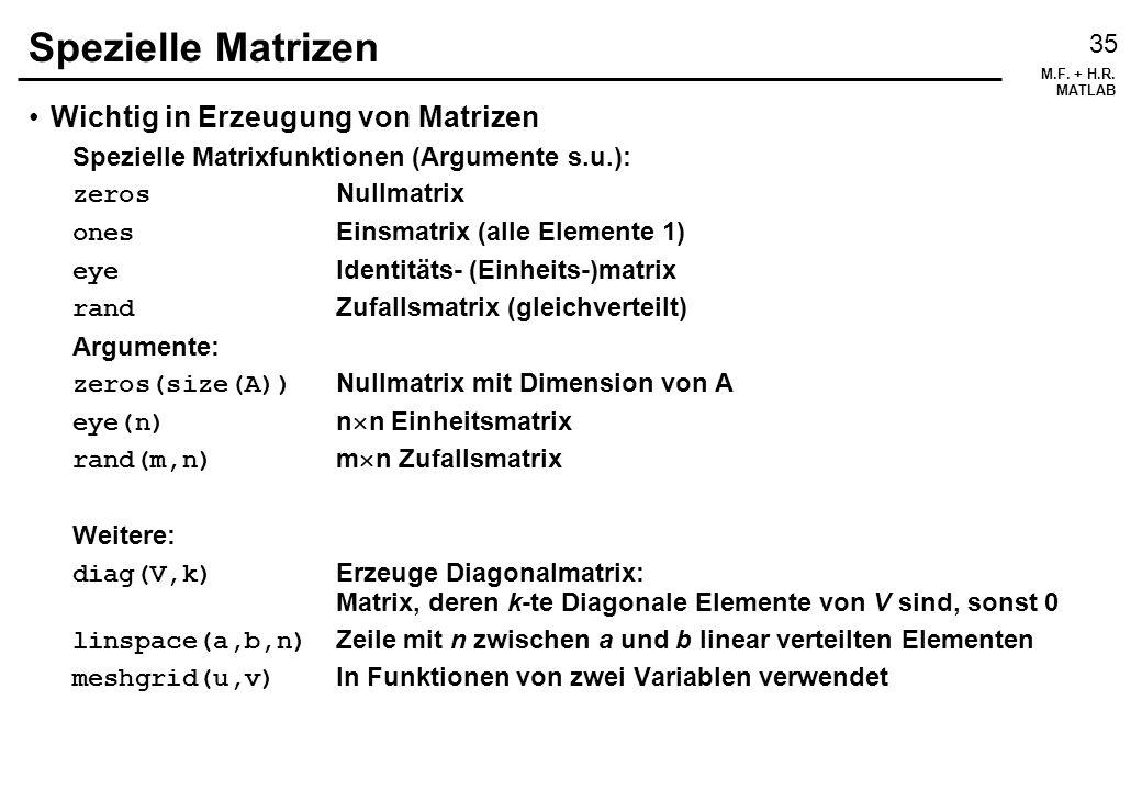 M.F.+ H.R. MATLAB 36 Matrizen manipulieren Größere Matrizen Mit Blockmatrixnotation erzeugen.