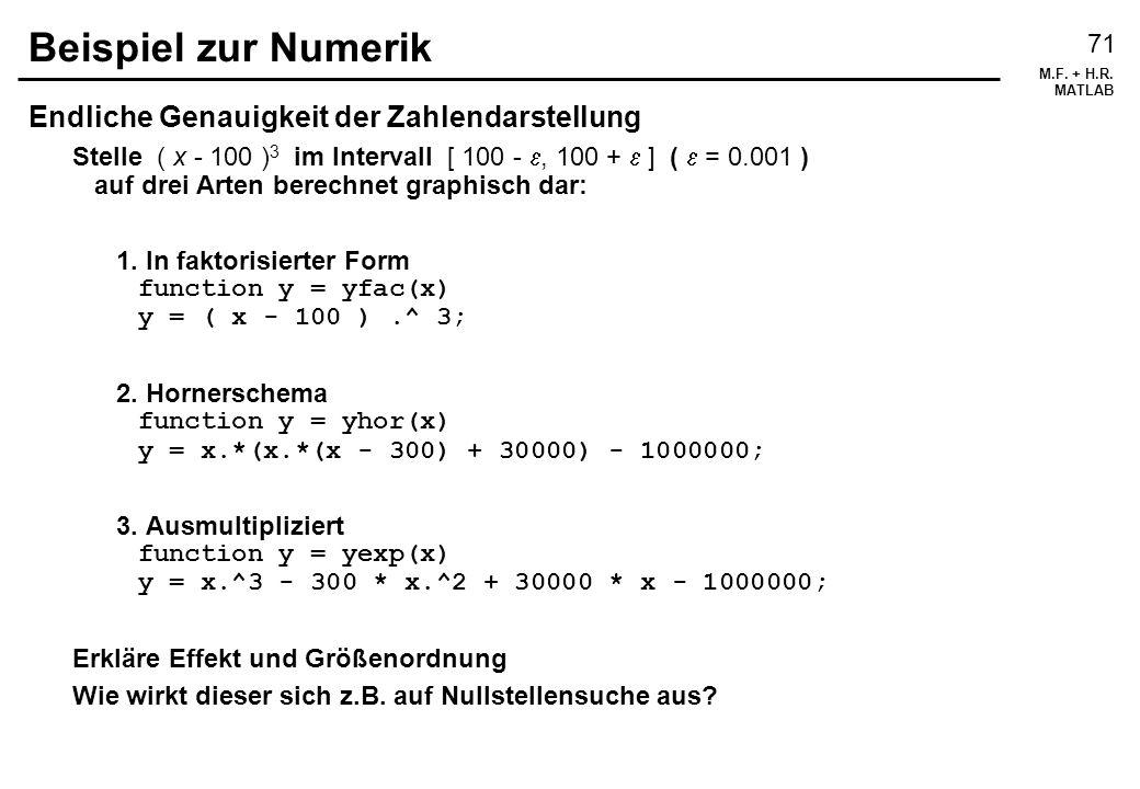 M.F. + H.R. MATLAB 71 Beispiel zur Numerik Endliche Genauigkeit der Zahlendarstellung Stelle ( x - 100 ) 3 im Intervall [ 100 -, 100 + ] ( = 0.001 ) a
