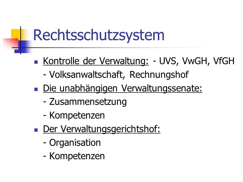 Rechtsschutzsystem Kontrolle der Verwaltung: - UVS, VwGH, VfGH - Volksanwaltschaft, Rechnungshof Die unabhängigen Verwaltungssenate: - Zusammensetzung