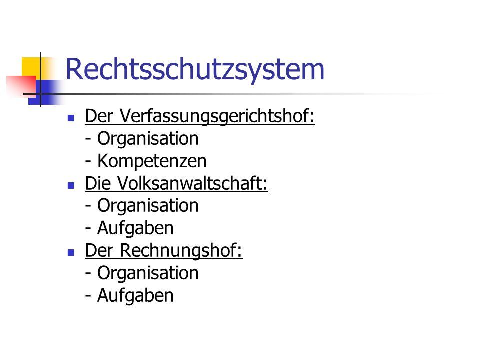 Rechtsschutzsystem Der Verfassungsgerichtshof: - Organisation - Kompetenzen Die Volksanwaltschaft: - Organisation - Aufgaben Der Rechnungshof: - Organ