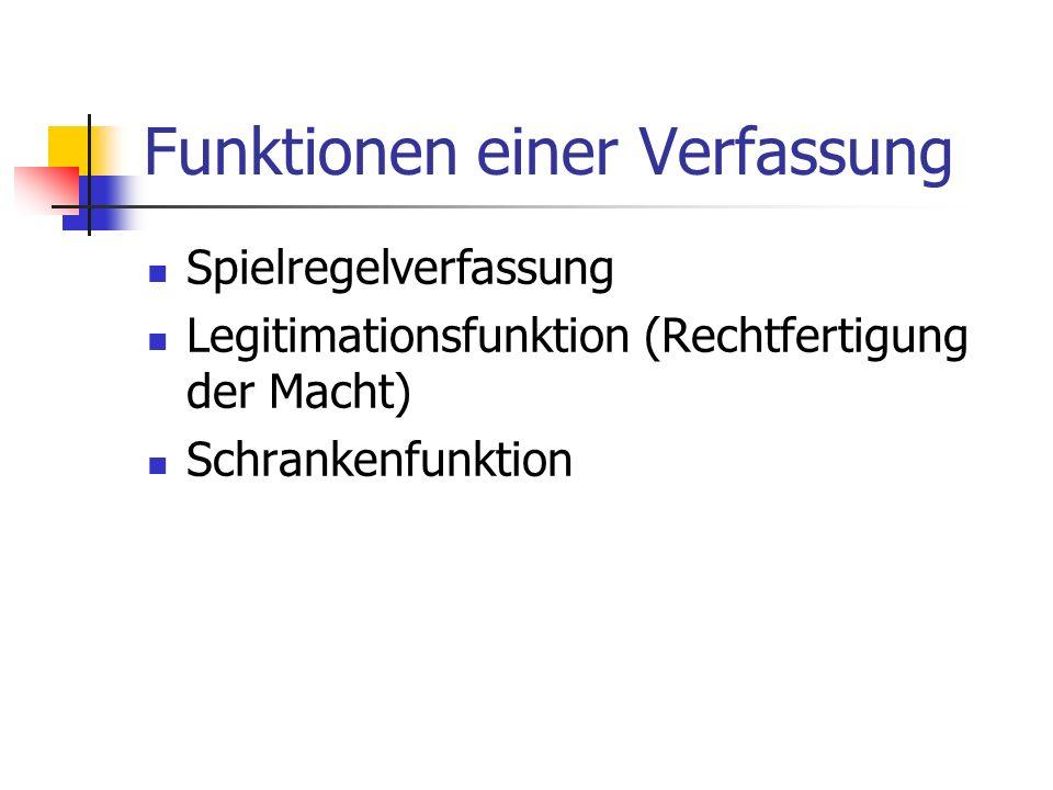 Funktionen einer Verfassung Spielregelverfassung Legitimationsfunktion (Rechtfertigung der Macht) Schrankenfunktion
