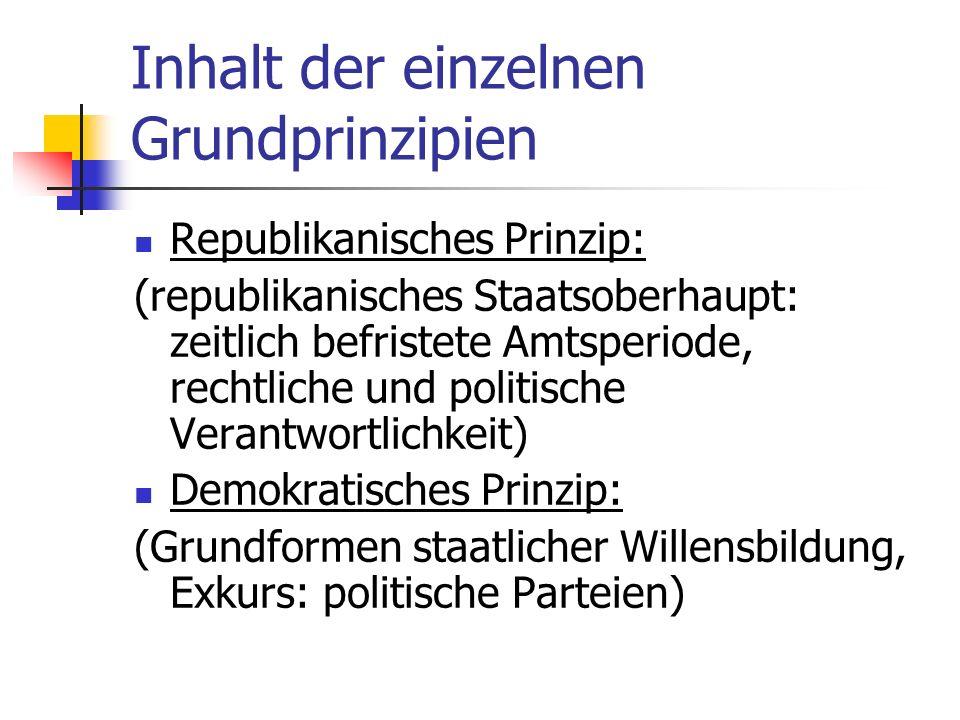 Inhalt der einzelnen Grundprinzipien Rechtsstaatliche Prinzip: (Publizität, Zugänglichkeit und Verständlichkeit genereller Rechtsvorschriften; Ausreichende Vorherbestimmung des Vollzugshandelns; System von Rechtsschutzeinrichtungen; Grundrechtesystem)