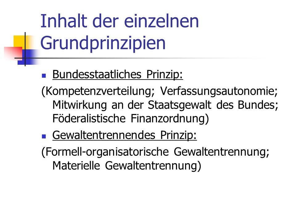 Inhalt der einzelnen Grundprinzipien Bundesstaatliches Prinzip: (Kompetenzverteilung; Verfassungsautonomie; Mitwirkung an der Staatsgewalt des Bundes;