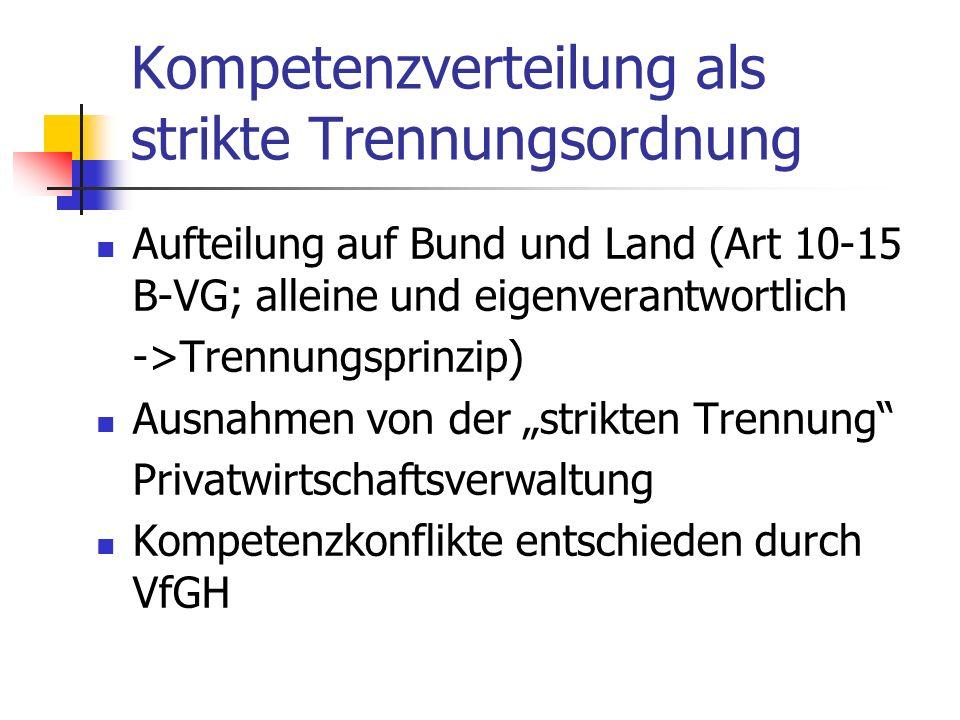 Kompetenzverteilung als strikte Trennungsordnung Aufteilung auf Bund und Land (Art 10-15 B-VG; alleine und eigenverantwortlich ->Trennungsprinzip) Aus