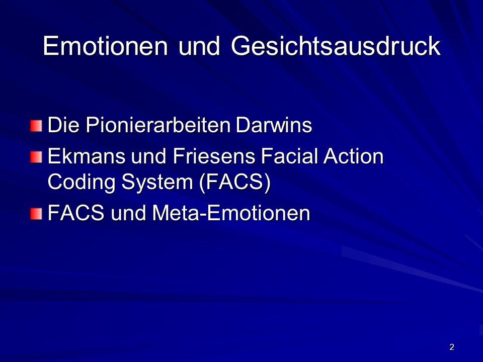 2 Emotionen und Gesichtsausdruck Die Pionierarbeiten Darwins Ekmans und Friesens Facial Action Coding System (FACS) FACS und Meta-Emotionen