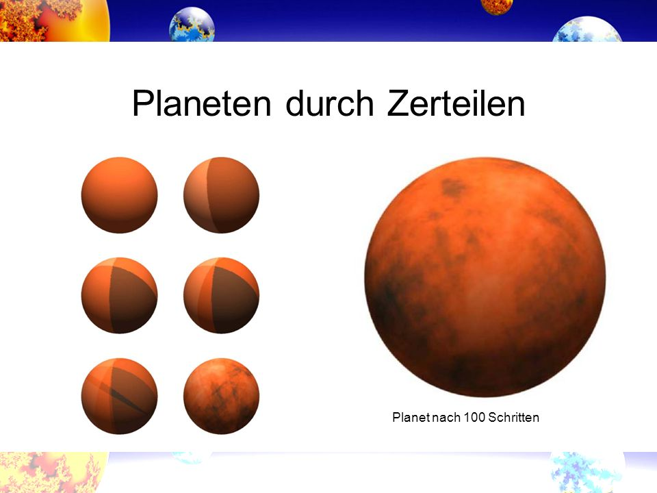Planeten durch Zerteilen Planet nach 100 Schritten