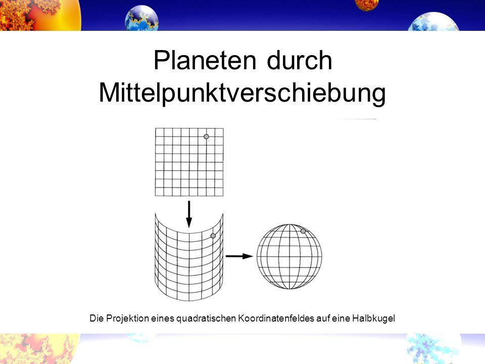 Die Projektion eines quadratischen Koordinatenfeldes auf eine Halbkugel Planeten durch Mittelpunktverschiebung