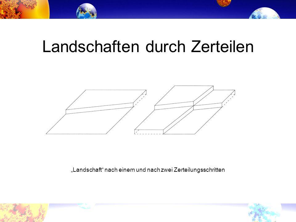 Landschaften durch Zerteilen Landschaft nach einem und nach zwei Zerteilungsschritten