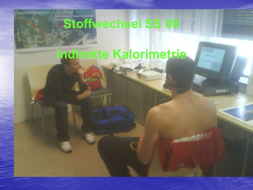 Stoffwechsel SS08 indirekte Kaloriometrie Pröller/Junker Stoffwechsel SS 08 indirekte Kalorimetrie