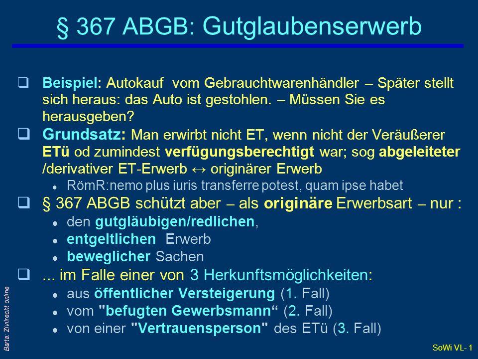 SoWi VL- 1 Barta: Zivilrecht online § 367 ABGB: Gutglaubenserwerb qBeispiel: Autokauf vom Gebrauchtwarenhändler – Später stellt sich heraus: das Auto