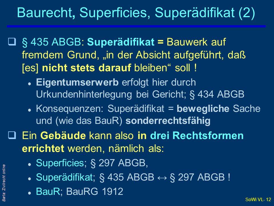 SoWi VL- 12 Barta: Zivilrecht online Baurecht, Superficies, Superädifikat (2) q§ 435 ABGB: Superädifikat = Bauwerk auf fremdem Grund, in der Absicht a