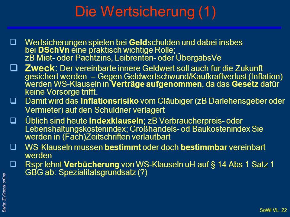 SoWi VL- 22 Barta: Zivilrecht online Die Wertsicherung (1) qWertsicherungen spielen bei Geldschulden und dabei insbes bei DSchVn eine praktisch wichti