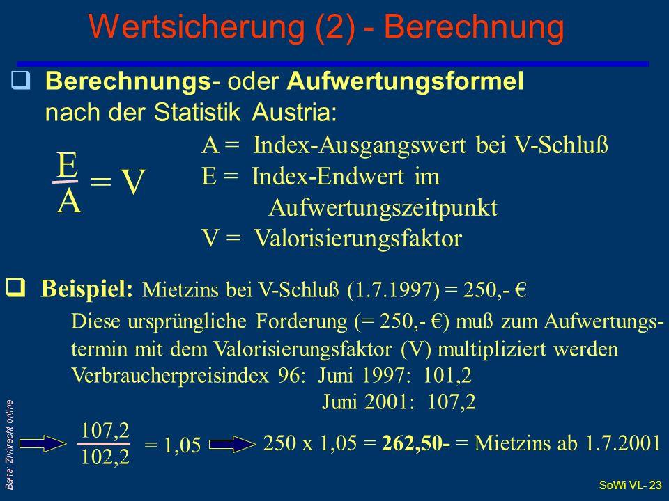 SoWi VL- 23 Barta: Zivilrecht online Wertsicherung (2) - Berechnung qBerechnungs- oder Aufwertungsformel nach der Statistik Austria: EAEA = V A = Inde