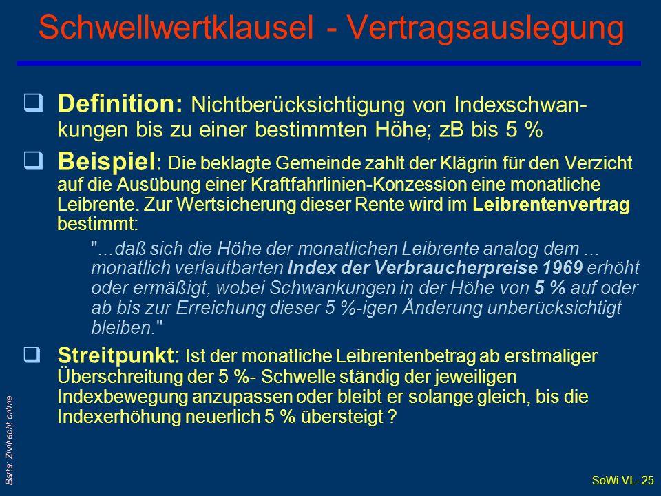 SoWi VL- 25 Barta: Zivilrecht online Schwellwertklausel - Vertragsauslegung qDefinition: Nichtberücksichtigung von Indexschwan- kungen bis zu einer be