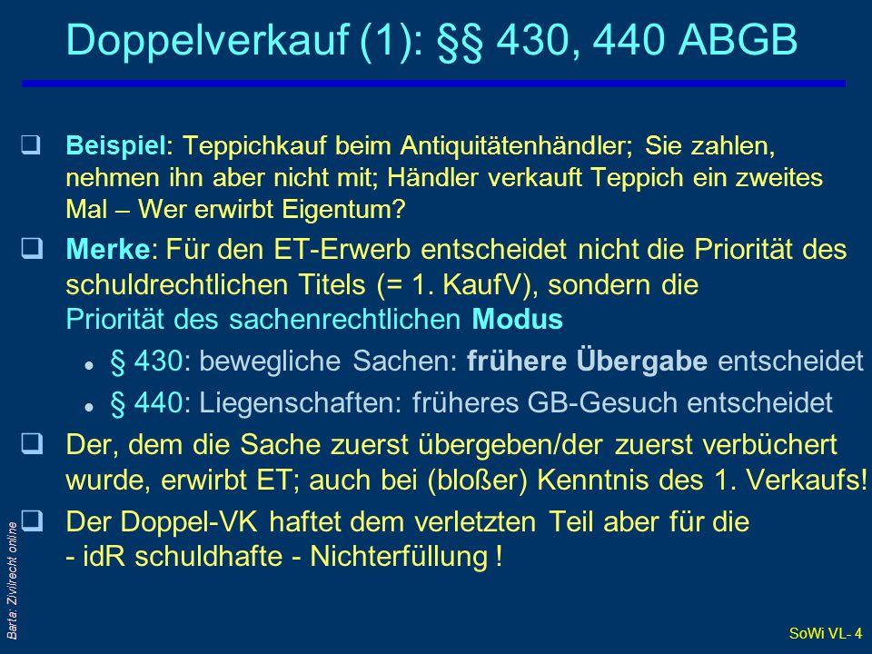 SoWi VL- 4 Barta: Zivilrecht online Doppelverkauf (1): §§ 430, 440 ABGB qBeispiel: Teppichkauf beim Antiquitätenhändler; Sie zahlen, nehmen ihn aber n