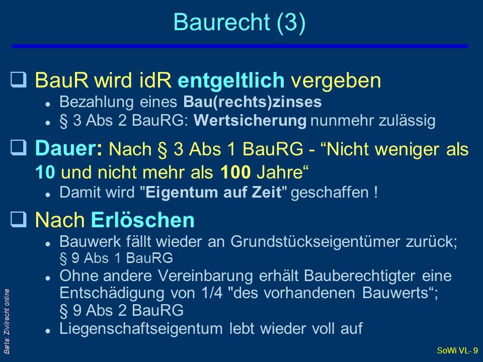 SoWi VL- 9 Barta: Zivilrecht online Baurecht (3) qBauR wird idR entgeltlich vergeben l Bezahlung eines Bau(rechts)zinses l § 3 Abs 2 BauRG: Wertsicher