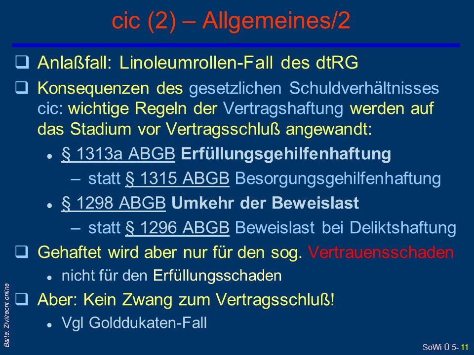 SoWi Ü 5- 11 Barta: Zivilrecht online cic (2) – Allgemeines/2 qAnlaßfall: Linoleumrollen-Fall des dtRG qKonsequenzen des gesetzlichen Schuldverhältnis