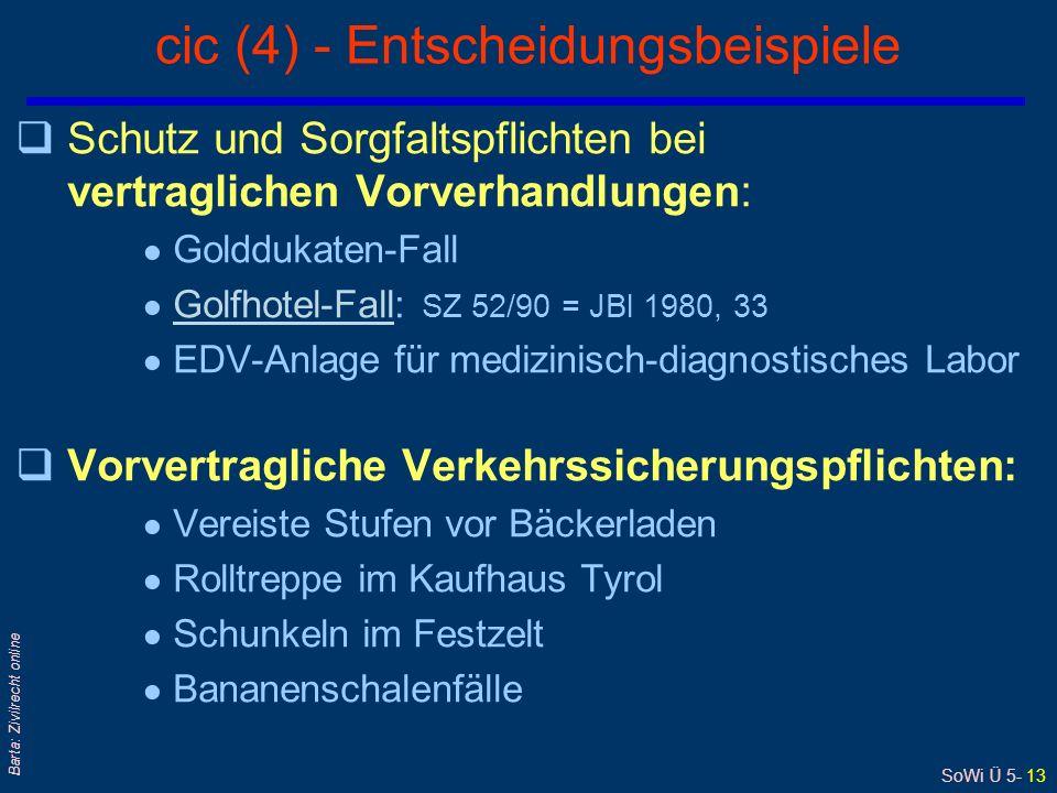 SoWi Ü 5- 13 Barta: Zivilrecht online cic (4) - Entscheidungsbeispiele qSchutz und Sorgfaltspflichten bei vertraglichen Vorverhandlungen: Golddukaten-