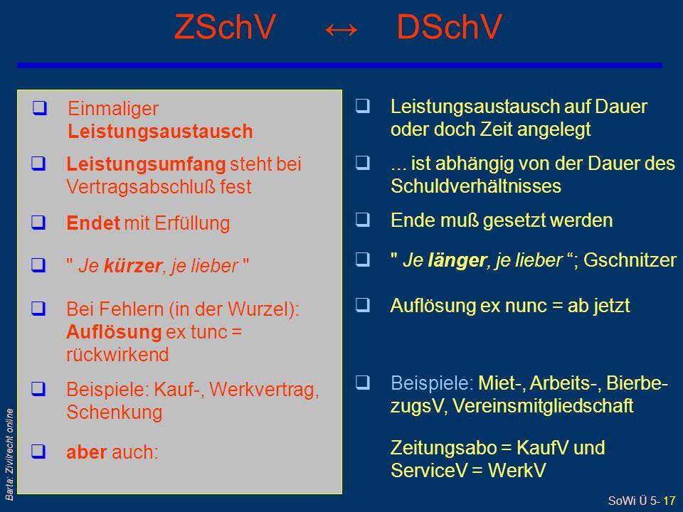 SoWi Ü 5- 17 Barta: Zivilrecht online ZSchV DSchV qEinmaliger Leistungsaustausch qLeistungsaustausch auf Dauer oder doch Zeit angelegt qLeistungsumfang steht bei Vertragsabschluß fest q...