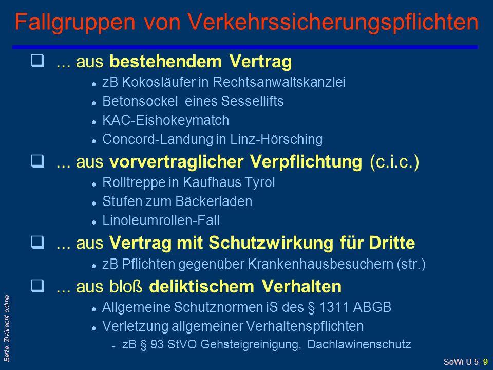 SoWi Ü 5- 9 Barta: Zivilrecht online Fallgruppen von Verkehrssicherungspflichten q...