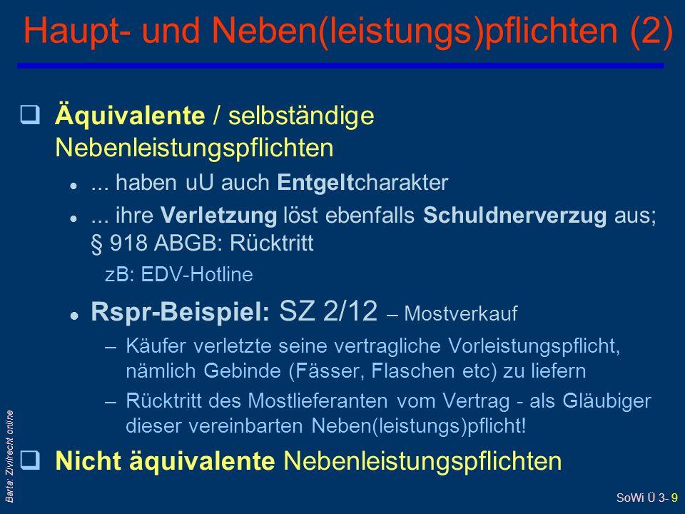 SoWi Ü 3- 9 Barta: Zivilrecht online Haupt- und Neben(leistungs)pflichten (2) qÄquivalente / selbständige Nebenleistungspflichten l... haben uU auch E