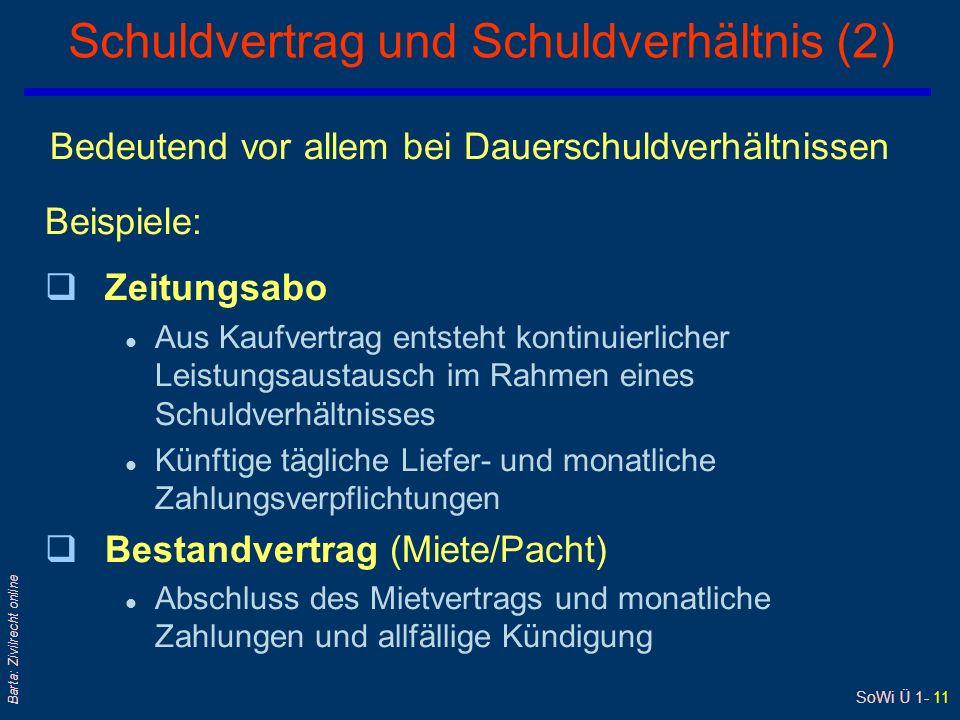 SoWi Ü 1- 11 Barta: Zivilrecht online Schuldvertrag und Schuldverhältnis (2) Bedeutend vor allem bei Dauerschuldverhältnissen Beispiele: qZeitungsabo