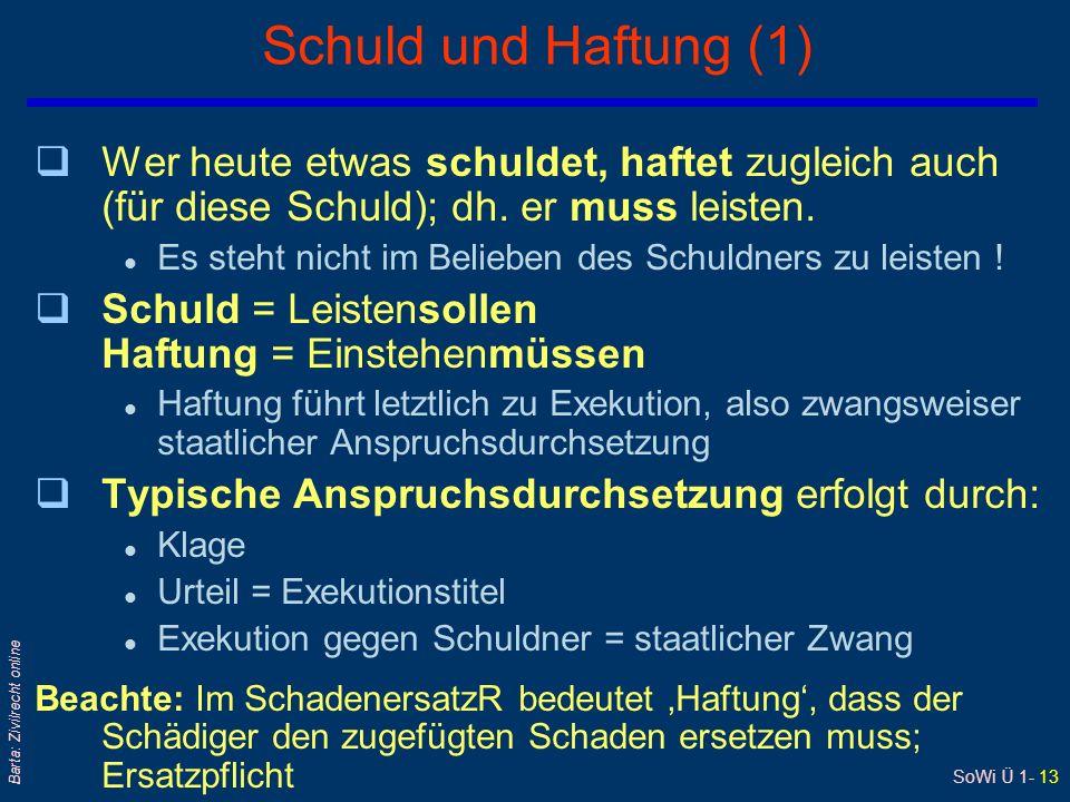 SoWi Ü 1- 13 Barta: Zivilrecht online Schuld und Haftung (1) qWer heute etwas schuldet, haftet zugleich auch (für diese Schuld); dh. er muss leisten.