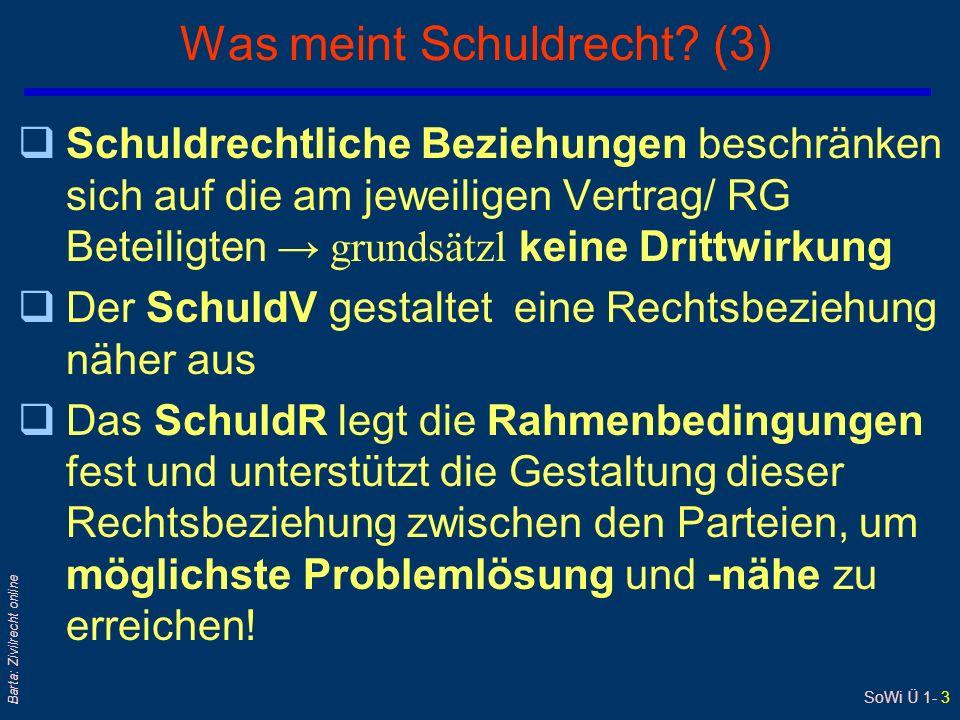 SoWi Ü 1- 3 Barta: Zivilrecht online Was meint Schuldrecht? (3) Schuldrechtliche Beziehungen beschränken sich auf die am jeweiligen Vertrag/ RG Beteil