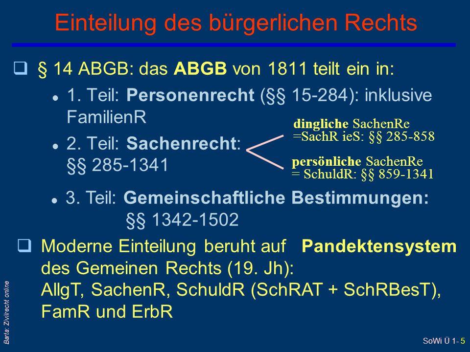 SoWi Ü 1- 5 Barta: Zivilrecht online Einteilung des bürgerlichen Rechts q§ 14 ABGB: das ABGB von 1811 teilt ein in: l 1. Teil: Personenrecht (§§ 15-28