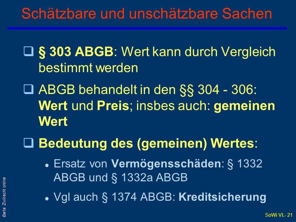 SoWi VL- 20 Barta: Zivilrecht online Teilbare und unteilbare Sachen q§ 843 ABGB: Sache [kann] entweder gar nicht oder nicht ohne beträchtliche Verminderung des Wertes geteilt werden.