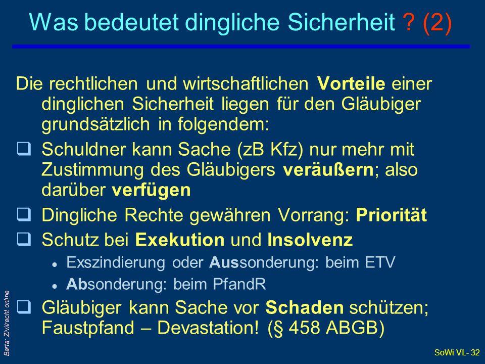 SoWi VL- 31 Barta: Zivilrecht online Was bedeutet dingliche Sicherheit .
