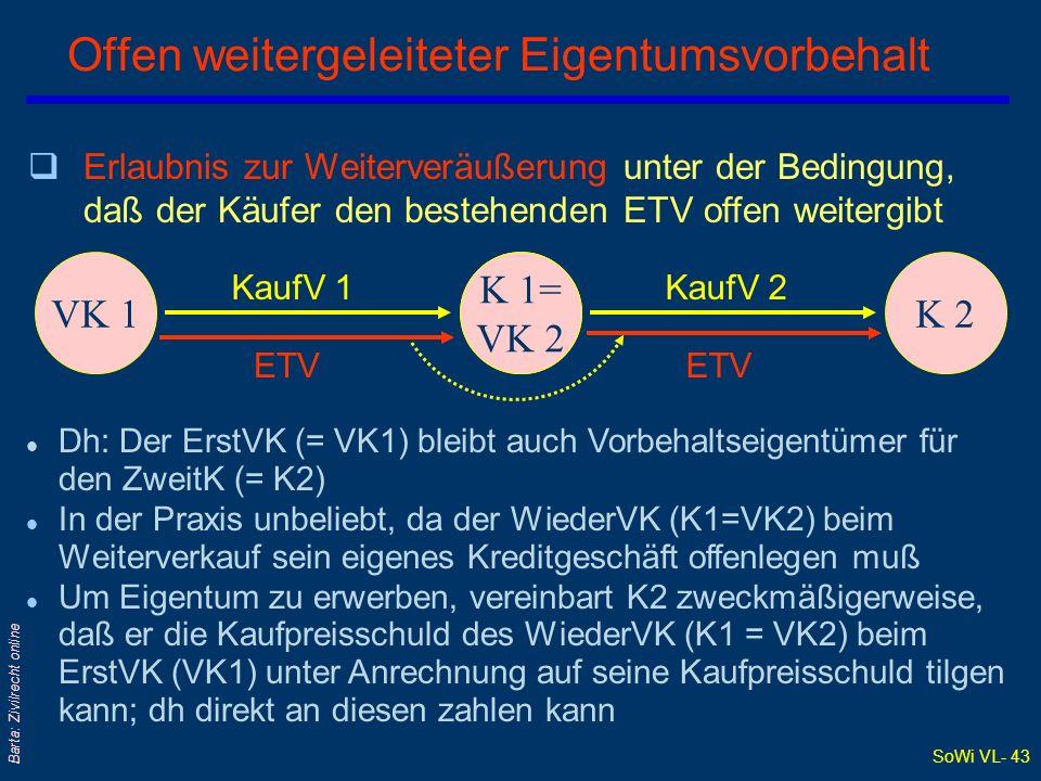 SoWi VL- 42 Barta: Zivilrecht online Verlängerter ETV: Verarbeitungsklausel VKK KaufV Verarbeitung ETV führt zu Mit-ET am Endprodukt qVerkäufer erwirbt an Stelle der Sicherheit durch das Vorbehaltsgut kraft Verarbeitungsklausel (sog verlängerter ETV ieS) mit Verarbeitung des Vorbehaltsguts Mit-ET am Endprodukt zB SZ 49/138 (1976): Verarbeitung von Stoffen zu Blusen unter ETV Stoff- ballen