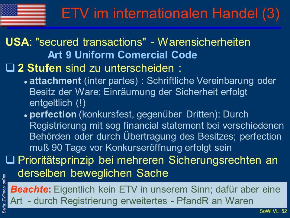 SoWi VL- 51 Barta: Zivilrecht online ETV im internationalen Handel (2) Großbritannien: retention of title clause qDer Zeitpunkt des ET-Übergangs der Ware wird im KaufV, also vertraglich(!) festgelegt - nicht etwa gesetzlich mit Übergabe qBezahlung aller Forderungen wird als Bedingung des ET-Übergangs vereinbart qSelbst Wiedereintritt des VK in ETü-Stellung bei Verzug oder Insolvenz von K kann vereinbart werden qIst K eine Gesellschaft, muß ETV bei ihr als Sicherungsrecht eingetragen werden (Companies Act 1985, Part XII), damit er gegenüber Dritten wirksam wird; sonst nur inter partes-Wirkung